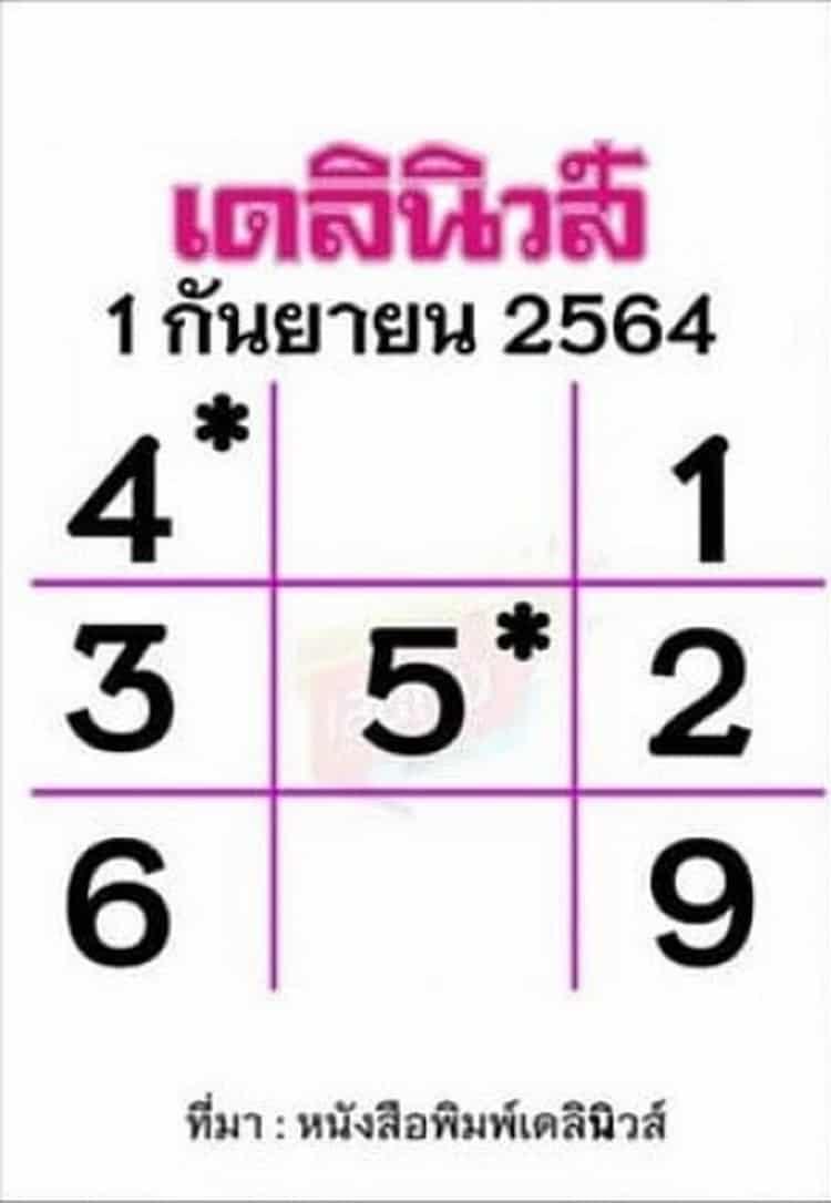หวยหนังสือพิมพ์ หวยเดลินิวส์-010964