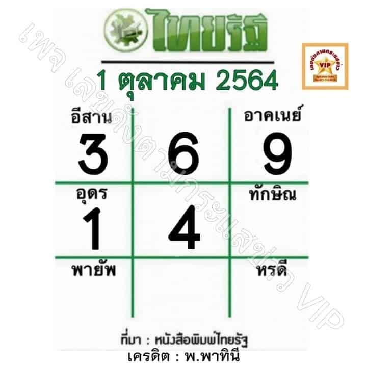 หวยหนังสือพิมพ์ หวยไทยรัฐ-011064