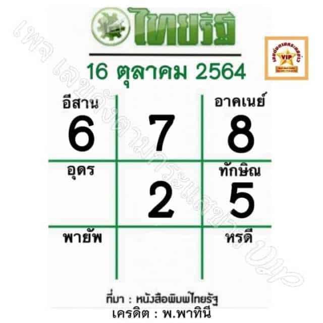 หวยหนังสือพิมพ์ หวยไทยรัฐ-161064